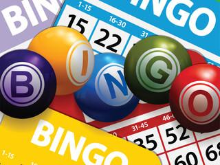 3D Bingo balls on bingo cards