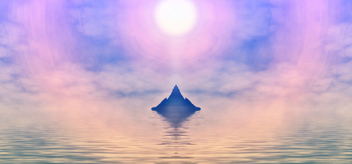 In de dag Purper meditation concept of participation seascape sun sets evening or morning pink orange color. 3D rendering 3D illustration