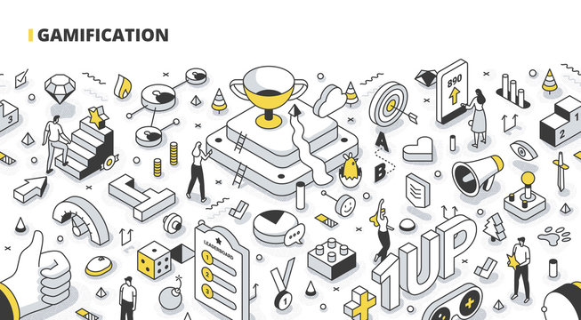 Gamification Isometric Outline Illustration