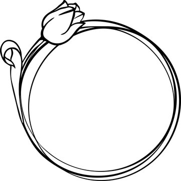 Round frame with tulips. decorative frame for cutting paper, laser or plotter. Easter composition with flowers. Floral bouquets SVG. Cut file for cutting machines