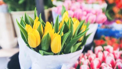 Keuken foto achterwand Tulp tulips for sale at street flowers market