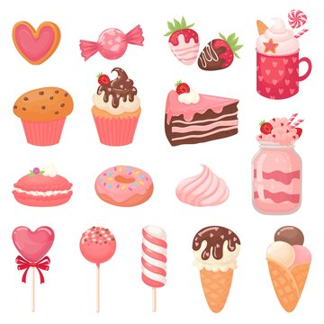 Cute Valentines sweets. Heart lollipop, sweet ice cream and strawberry cake. Candy cartoon vector illustration set. Collection of pink romantic desserts and confections - cupcakes, macarons, candies.