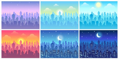 Foto op Plexiglas Purper Day time cityscape. Change of time of day, morning town and night city skyline vector illustration set. Bundle of urban landscapes in flat style with downtown buildings, sun or crescent moon in sky.