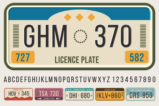 License car plates font. Embossed font letters and numbers, cars registration number frame template vector illustration set. Collection of vehicle ID or automobile identifiers, symbols and digits.