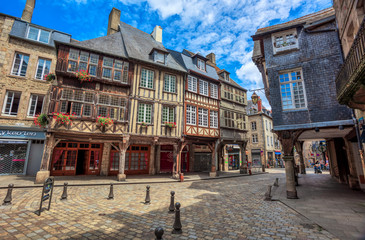 Wall Mural - Half-timbered medieval houses in Dinan historical Old town, Brittany, France