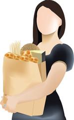 donna che regge sacchetto biodegradabile pieno di alimenti
