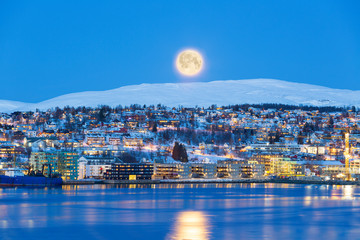 Tromso At Full Moon In Winter Time, Christmas in Tromso, Norway