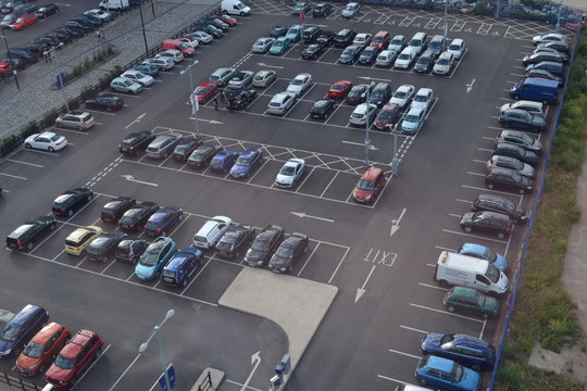 Parking lot with many cars