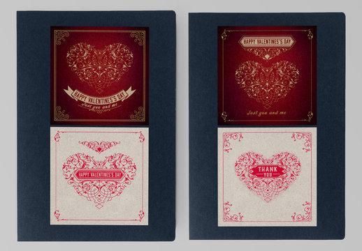 Set of 4 Vintage Valentine's Day Card