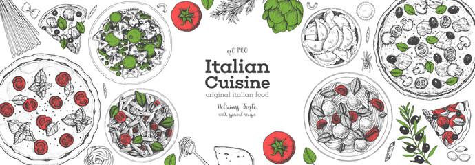 Pizza, pasta and ravioli cooking and ingredients for pizza, pasta and ravioli , sketch illustration. Italian cuisine frame. Food menu design elements. Pizza and pasta hand drawn frame. Italian food.