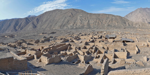 Panoramic View of the ancient ruins of the archeological zone Huaycan de Cieneguilla. Lima-Peru