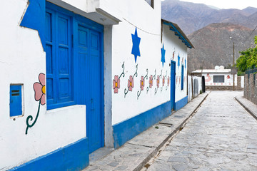 Details of the populated center of Antioquia, a picturesque place of high tourist attraction due to the detail of his paintings on the facade of his houses. Lima-Peru