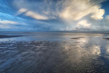 dramatic clouds over sea coast