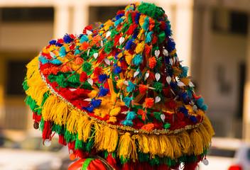 Keuken foto achterwand Marokko Close-Up Of Colorful Hat Outdoors