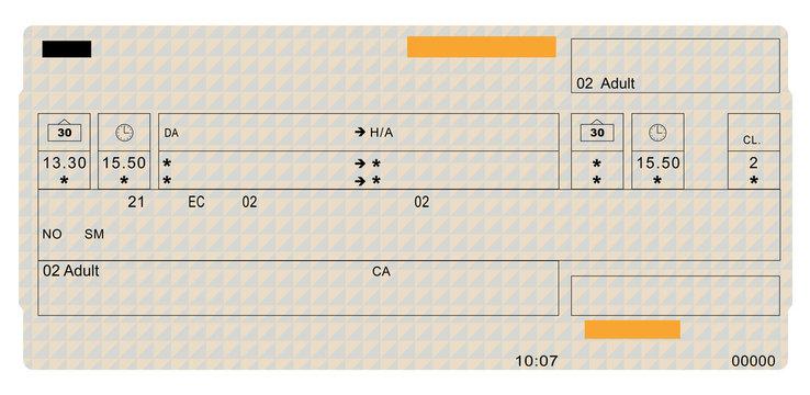 Blank ticket on white background