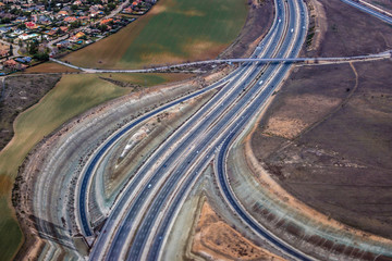 M50 ring road, view from plane just after take off from Madrid Airport, Spain