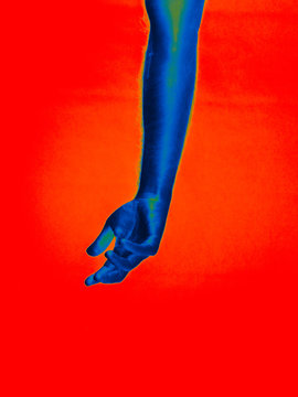 Neon Man hands surreal