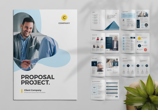 Project Proposal Layout with Blue Abstract Blue Elements