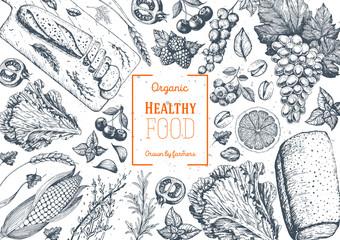 Healthy food frame vector illustration. Vegetables, fruits, bread, berries hand drawn. Organic food set. Vegetarian food collection