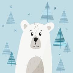 Cute polar bear isolated on a blue background with trees, snowflakes. Vector illustration, cartoon.