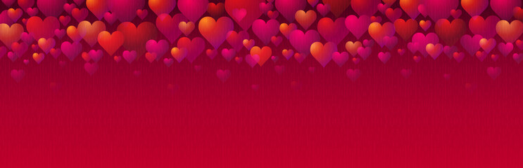 Wall Mural - Banner with pink and red valentines hearts. Valentines greeting background. Horizontal holiday background, headers, posters, cards, website. Vector illustration