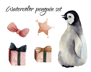 Watercolor hand painted penguin set with bow, gift boxes, star.