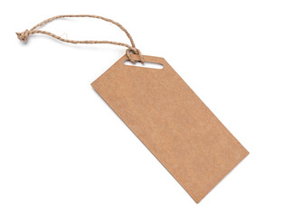 Blank tag tied with string. Price tag,