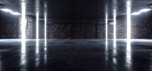 Neon Glowing White Cyber Underground Brick Cement Asphalt Parking Showroom Car Garage Corridor Lights Realistic Urban Showcase Background 3D Rendering
