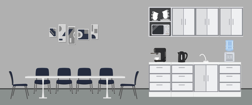 Office kitchen. Dining room in office. There are kitchen cabinets, a table, blue chairs, microwave, kettle and coffee machine in the image. There are abstract pictures on the wall. Vector illustration