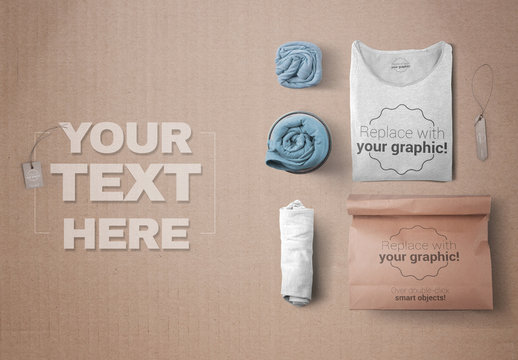 3 Rolled T-Shirts and 1 Folded T-Shirt with Paper Bag Mockup