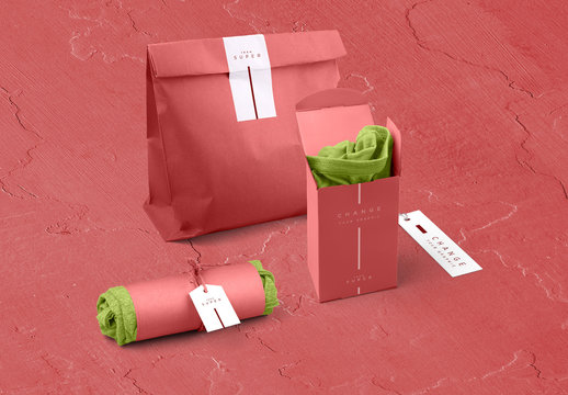 2 Folded T-Shirts with Paper Bag in Rose Red Colors Mockup