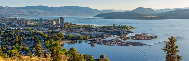 Kelowna British Columbia skyline and Okanagan Lake with the R W Bennett Bridge from Knox Mountain at sunset Wall mural