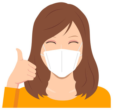 Young woman wearing a mask vector illustration (upper body) / thumb up with smiling