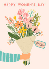 International Women s Day. Vector template with bouquet of flowers