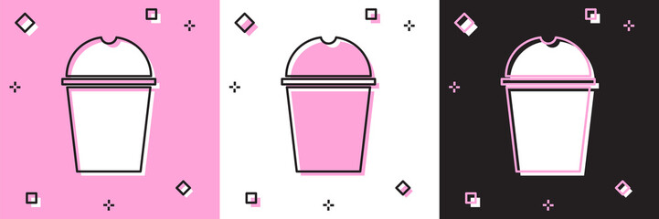 Set Paper glass and water icon isolated on pink and white, black background. Soda drink glass. Fresh cold beverage symbol. Vector Illustration