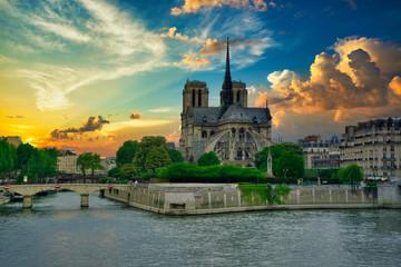 Wall Mural - Notre Dame de Paris under an amazing Sky, before the Fire, Paris, France