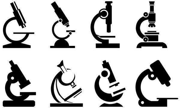collection of microscope vector isolated