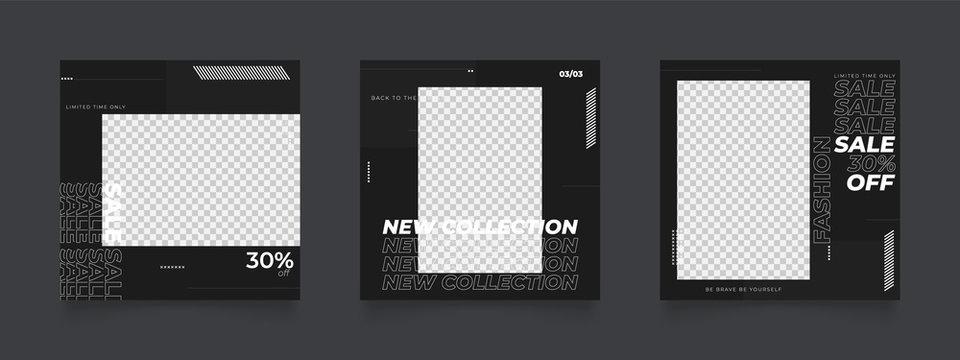 social media post template for digital marketing and sale promo. modern fashion advertising. black and white monochrome banner. mockup photo frame vector illustration.