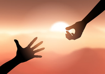 Silhouette of hands reaching out to help