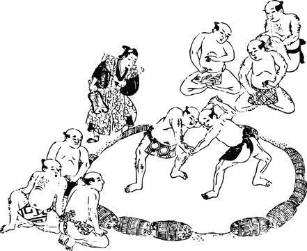 相撲をとる男たち
