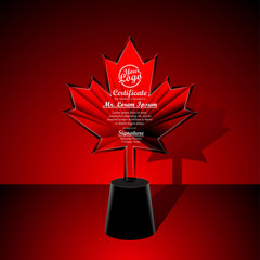 Crystal trophy certificate design template on red background.
