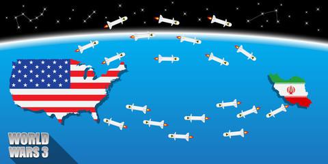 USA VS Iran World wars3 concept. vector illustration