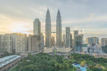Fotobehang Kuala Lumpur SKYSCRAPERS IN CITY