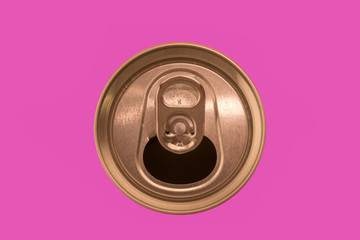 ring pull can isolated on a pink background