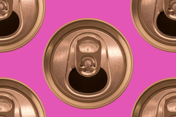 ring pull can top on a colored background