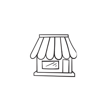 hand drawn shop icon illustration with doodle style vector isolated on white