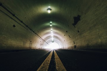 Fototapeta Interior Of Illuminated Tunnel