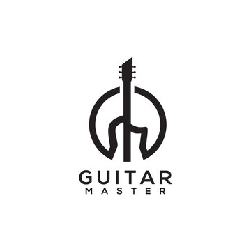 Guitar icon logo design vector template