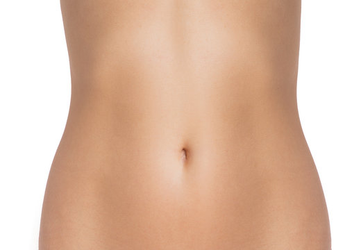 beautiful slim female waist on a white background