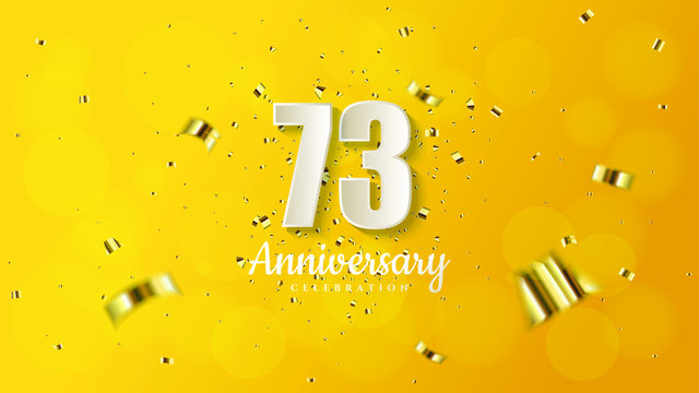 anniversary background with illustrations of white numbers and pieces of gold paper on a soft yellow background.